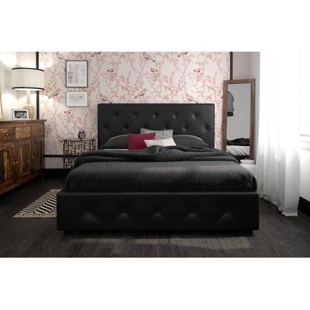 Dhp Dean Upholstered Bed With Storage, Leather Upholstered Queen Size Bed Frame