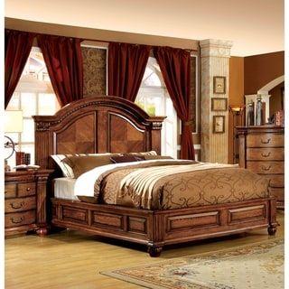 Furniture Of America Righ Traditional Oak Solid Wood Panel Bed En 2020 Ideas De Muebles De Dormitorio Camas Talladas Dormitorios