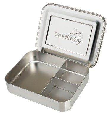 Large Stainless Steel Container Advertisement It Has One Large And Two Smaller Compartments For You To Pa With Images Stainless Steel Lunch Box Lunchbots Steel Lunch Box