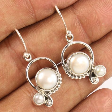 Natural AAA FRESHWATER PEARL Gems 925 Solid Sterling Silver Jewelry Earrings
