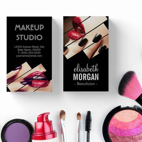 Modern Black and Red Fashion Makeup Beauty Salon Business Card Template