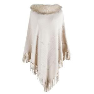 one size Knitted thick champagne white poncho  cape