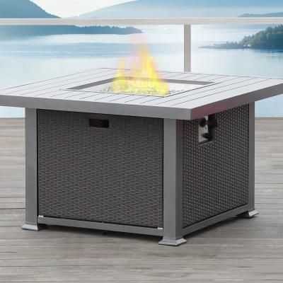 Real Flame Baltic 36 In Square Natural Gas Outdoor Fire Pit In Glacier Gray T9620ng Glg Propane Fire Pit Table Propane Fire Pit Gas Fire Pits Outdoor