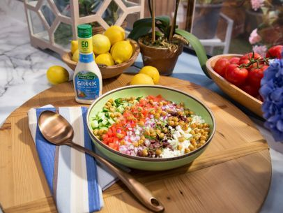 Get this all-star, easy-to-follow Creamy Greek Orzo Salad with Crispy Chickpeas recipe from Jeff Mauro