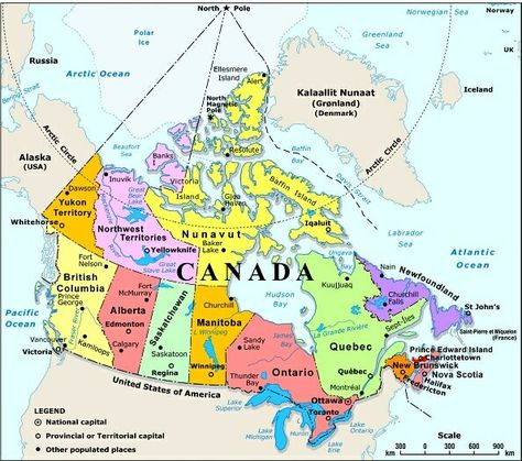 map of canada with capital cities and bodies of water thats easy to ...