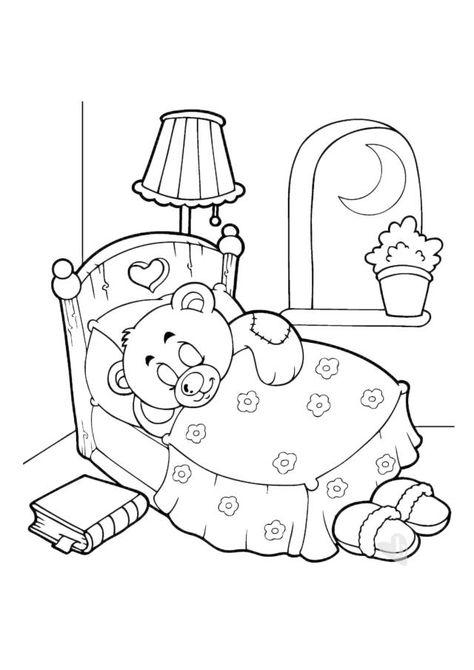 L Orsetto Che Dorme In Camera Stampa Il Disegno Da Colorare
