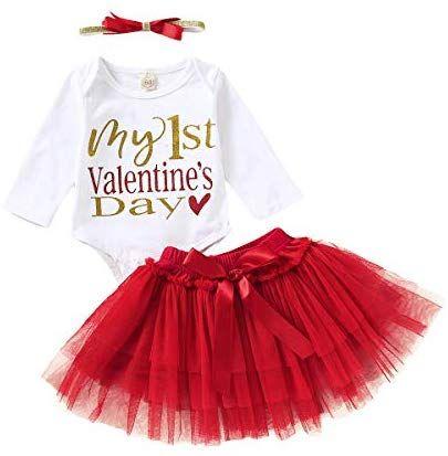 Newborn Baby Girl Heart Letter Romper Tops+Tutu Tulle Skirt Valentine Outfit Set