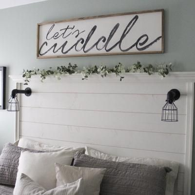 """LET'S CUDDLE FRAMED 16 x 58 By default all our wood signs: · are made with quality lumber – 3/4"""" pine or 5/8"""" birch · are painted with Valspar Dover White + Valspar Black, both in Satin finish · lettering is slightly distressed · if framed, our signs are framed in Minwax Early American wood stain · frames are assembled"""