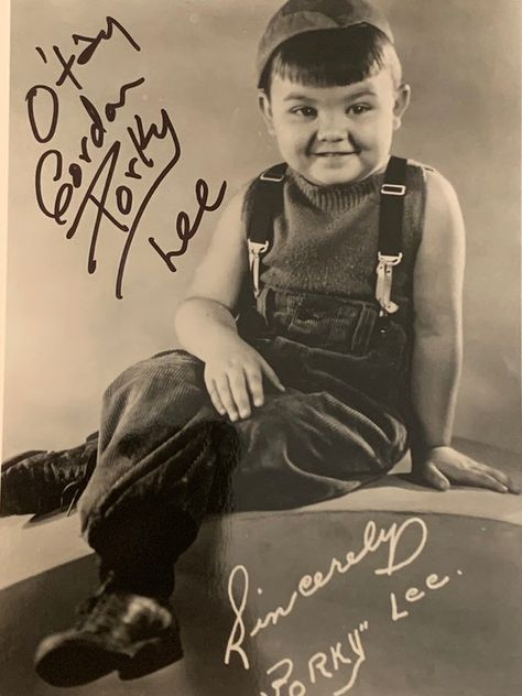 Autographed Eugene Gordon Lee Porky from the Our gang Little Rascals . Framed 8x10inch photo with CO
