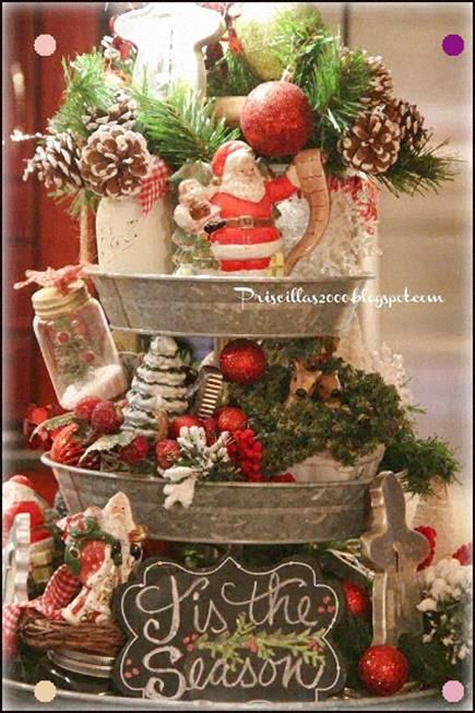 Christmas Galvinized Decorations 2020 Priscillas: Christmas Galvanized Tiered Tray 2015 in 2020