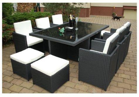 Gartenmöbel PolyRattan Essgruppe Tisch mit 6 Stühlen \ 4 Hocker