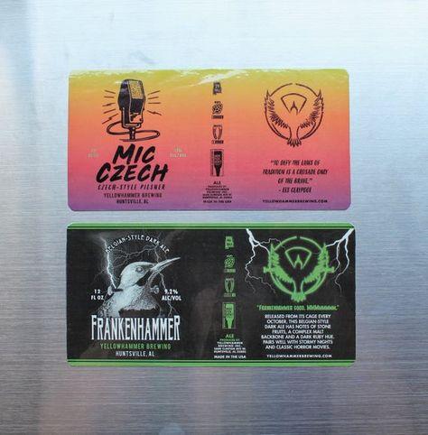Yellowhammer Brewing Frankenhammer Craft Beer Can Label Beer Magnetism Magnet