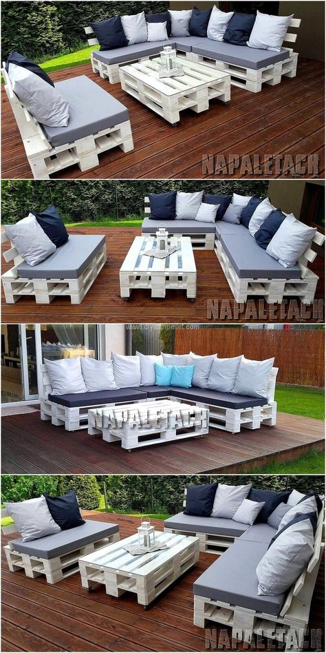 Make a base for your garden couch by utilizing reused pallets. The whole set consists of L-shaped queen sized couch, a double seating couch and a central table. Completion them off with seat measured open-air situate cushions and some dissipate pads for a comfortable seat for all in the outdoor area of home.