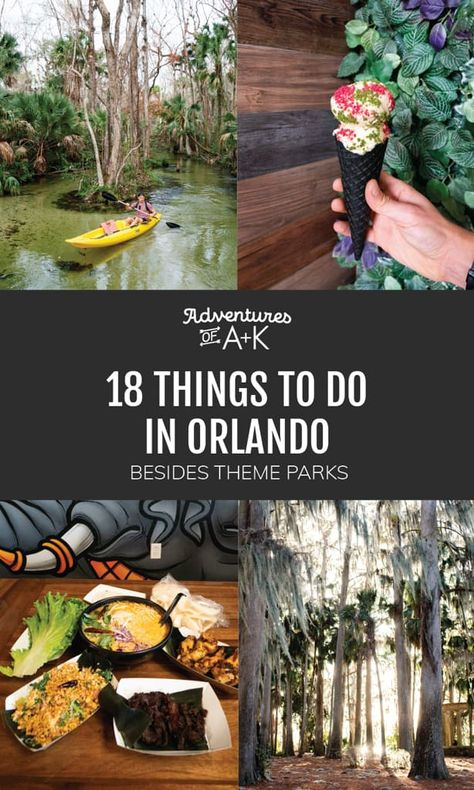 Heading to Orlando, but want to escape the theme parks? Here's our list of 18 things to do in Orlando besides theme parks, as well as tips for your trip! Visit Orlando, Orlando City, Orlando Travel, Orlando Vacation, Florida Vacation, Florida Travel, Orlando Florida, Florida Trips, Orlando Parks