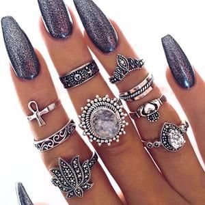 9 Pc Bohemian Style Ring Set