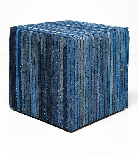 Hocker Denim aus Jeans-Patchwork Baumwolle blau