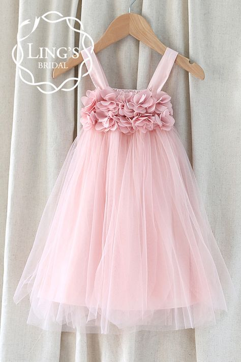 cf10f9e0a65 Pastel Dusty Pink Tutu Flower Girl Dress – Ling s Bridal