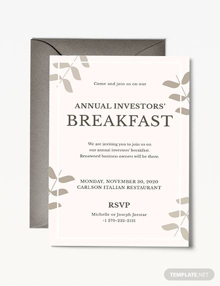 Corporate Breakfast Invitation Invitations Business
