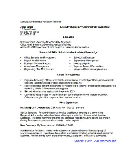 administrative assistant resumes free sample example format - sample resume for executive secretary