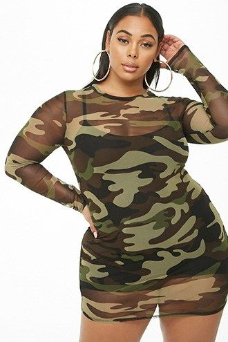 Plus Size Sheer Camo Mini Dress | Products in 2019 | Dress shirts ...