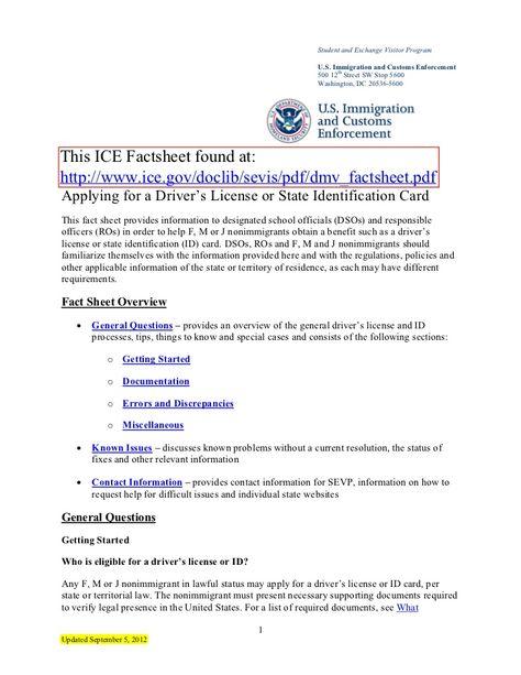 Ice Sevp Dmv Factsheet 9 52012 By Bigjoe5 Via Slideshare Fact Sheet Dmv How To Apply