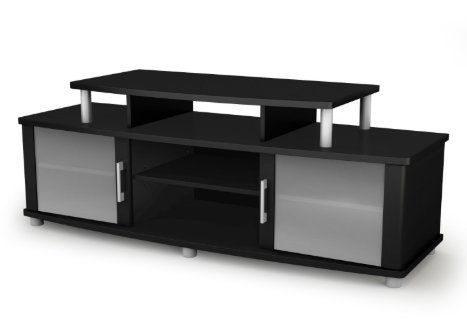 Skb Family Modern Tv Stand In Black Finish With Glass Doors Fits Up To 50 Inch Tvs Home Unique Frosted Glasses Organized Modern Tv Stand Home Tv Coffee Table