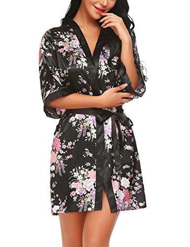 Robe de chambre peignoir satin XXL-tailles en noir-Lang-Kimono Négligé