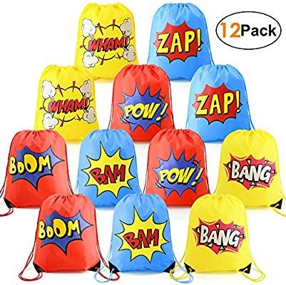 yizeda 16 Pack Superhero Party Bags and 60 Pcs Stickers for...