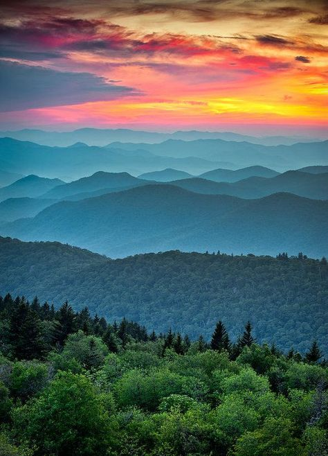 Photo about Blue Ridge Parkway Scenic Landscape Appalachian Mountains Ridges Sunset Layers over Great Smoky Mountains National Park. Image of mountain, peaks, evening - 22902369 Blue Ridge Parkway, Blue Ridge Mountains, Great Smoky Mountains, Forest Mountain, Mountain Sunset, Mountain Pictures, Blue Mountain, Mountain Landscape, Landscape Photography