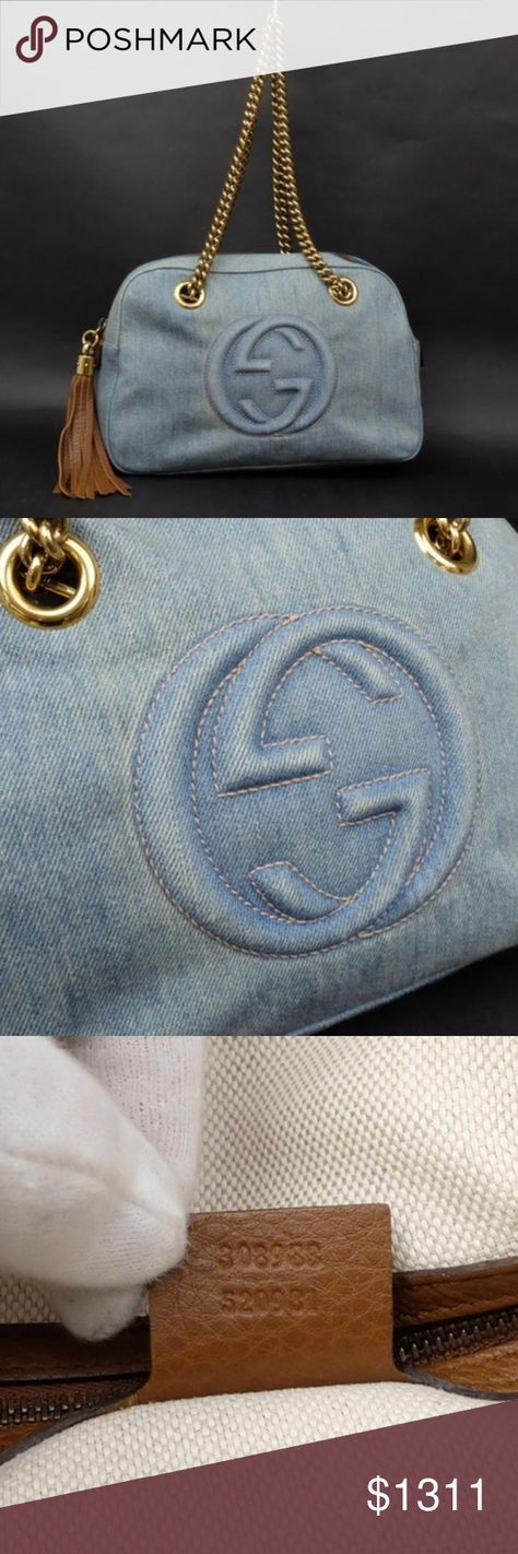 5cd769621f9 Gucci Limited Denim Soho Disco Chain Boston 230820 OVERALL VERY GOOD  CONDITION ( 8 10 or AB ) Retail  1500 Signs of Wear  Exterior  light fading  from normal ...