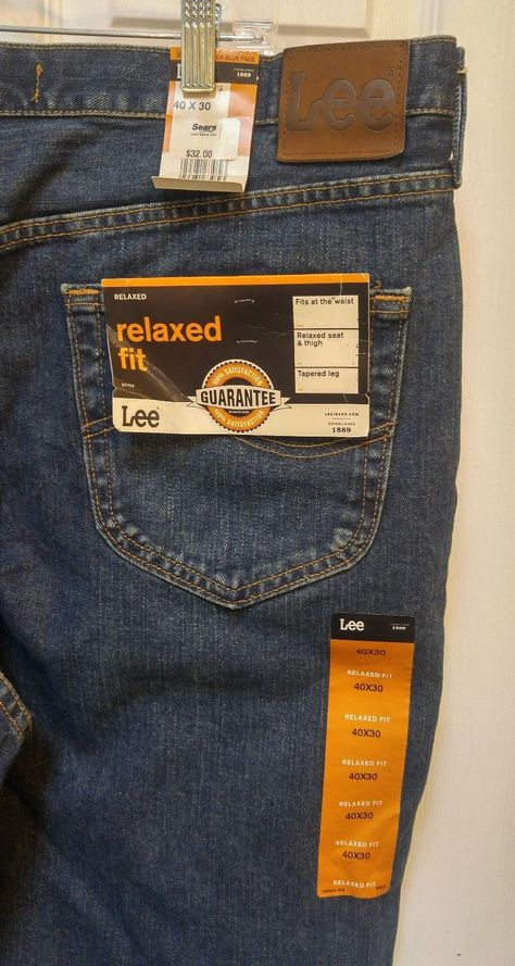 Lee Relaxed Fit Denim Blue Jeans Mens Size 40 x 30- New W/Tags