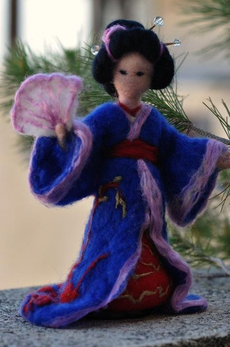 Needle Felted Waldorf Doll Geisha. Made to order | Etsy