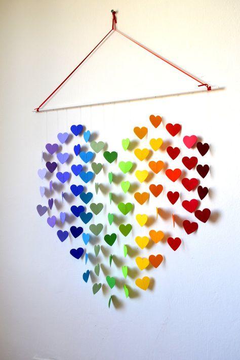 Rainbow Heart Mobile / Wall Hanging - Nursery Mobile Baby Shower Decor & Gift/ New Baby Gift/ Rainbow Nursery / Playroom / Wedding Gift