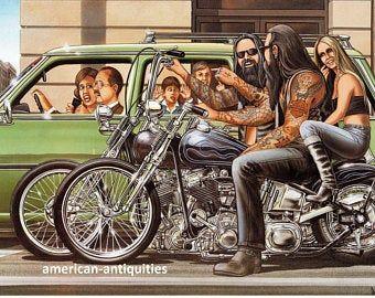 David Mann Motorcycle Biker Easyriders Centerfold Art Poster Print Saturday Night Sunday Morning Bike Chopper Sturgis Daytona x Motorcycle Posters, Motorcycle Clubs, Chopper Motorcycle, Motorcycle Helmet, Motorcycle Style, Harley Bikes, Harley Davidson Motorcycles, Baggers, Choppers