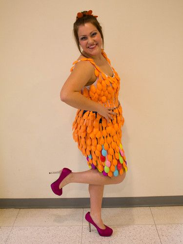 Recycle Fashion Show This dress is made up of assorted colors of plastic spoons…