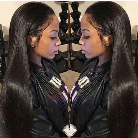 Long Straight Lace Front Wigs Malaysian Human Hair Black Women Full Lace Wigs with Free Part Natural Color Jet Black in Stock