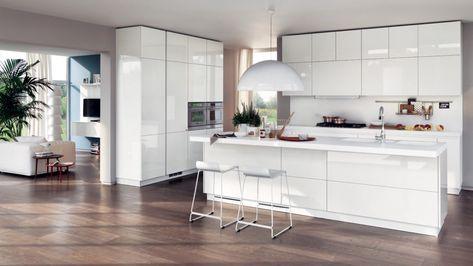 Come arredare una cucina moderna bianca | Soggiorno | Pinterest ...