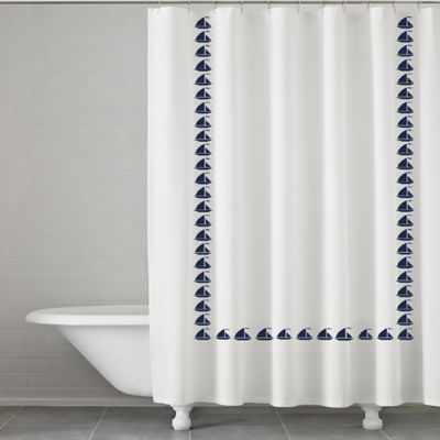 Grand Haven Embroidered Shower Curtain In Navy With Images