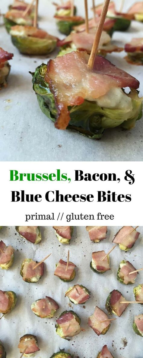 An easy Super Bowl snack of roasted Brussels sprouts, bacon, & blue cheese for the perfect bite! Just 4 ingredients for a healthy and easy appetizer, game day snack, or side dish! - Eat the Gains #superbowlrecipe #primalrecipe #brusselsproutrecipe #appetizer