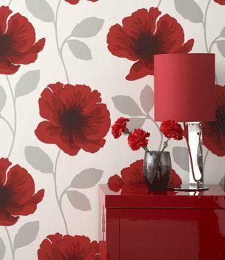 Room Decorating Poppy Flower Wallpaper Home Interior