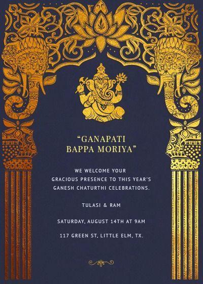 Ganesh Chaturthi Vinyaka Chavithi Invitation Online Invitation Card Ganpati Invitation Card Indian Invitation Cards