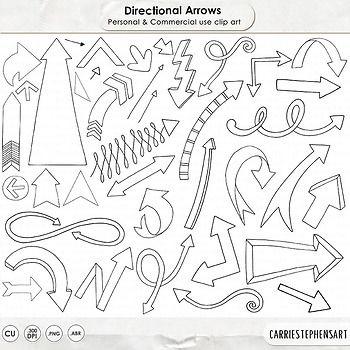 Arrow Line Art And Silhouettes Black And White Arrow Clip Art Doodles Teacherspayteachers Tpt Tptclipart Line Art Design Arrow Doodle How To Draw Hands