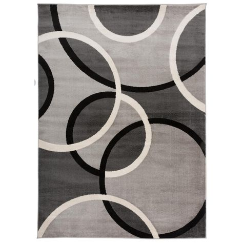 World Rug Gallery Modern Abstract Circles Gray 7 Ft 10 In X 10 Ft 2 In Indoor Area Rug Area Rugs Abstract Modern Area Rugs