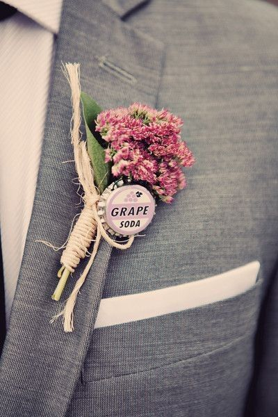 30 Brilliant Unique Wedding Boutonnieres, Buttonholes is part of Boutonniere wedding - From Lego Batman to beer bottle caps, grooms are giving a nod to their quirky passions with some brilliantly alternative & unique wedding boutonnières Quirky Wedding, Unique Weddings, Romantic Weddings, Yellow Weddings, Unique Wedding Themes, Elegant Wedding, Wedding Details, Retro Weddings, Cowboy Weddings
