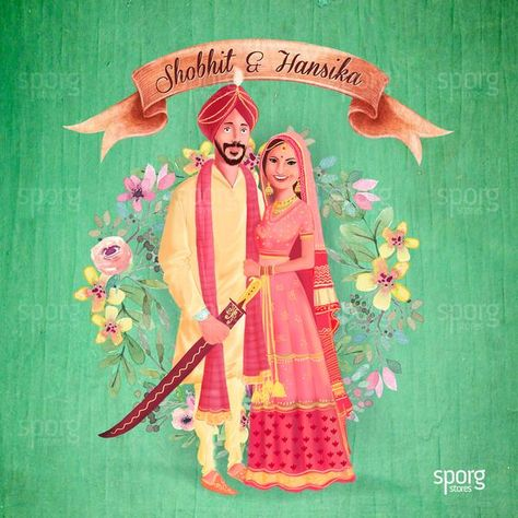 Sporg Studio provides Illustrated Punjabi wedding card service with utmost personalization. Punjabi Bride and Groom Illustration in caricature style. #illustratedweddingcards #punjabiweddinginvitation  #sikhwedding #punjabi #punjabibrides #indianwedding #weddingcards #couplecaricature #punjabiweddings #wedding #indianweddingideas #weddingcardideas