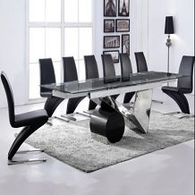 Cannes 180cm Black High Gloss Dining Table With Hampstead Z Chairs