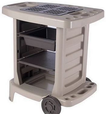 Suncast Dexter Resin Potting Bench Ideal For Gardening And Outdoor Projects Wheels For Portability Interchangeable Shelves And Bin Durable Resin Construct Casas