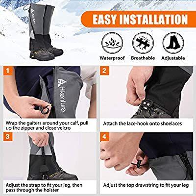 Hikenture Leg Gaiters with Waterproof Zipper Anti-Tear Water-Resistant Hiking Gaiters Hunting Breathable Shoe Gaiters for Men /& Women Skiing Adjustable Snow Boot Gaiters for Hiking Running