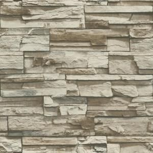 Roommates Brown Stacked Stone Vinyl Peelable Roll Covers 28 18 Sq Ft Rmk9025wp The Home Depot Slate Wallpaper Nuwallpaper Stone Wallpaper