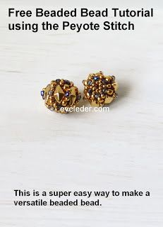 Free Beaded Bead Tutorial using the peyote stitch. This is a super easy way to make a beaded bead. This was made using two-hole DimaonDuo bead, 2Tiny fire polished beads and seed beads.